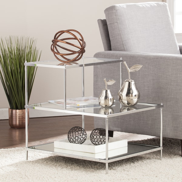 Silver Orchid Grant Glam Mirrored Accent Table Chrome