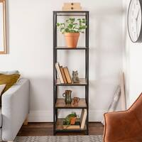 The Gray Barn Pitchfork X-Frame Metal and Wood Bookshelf Tower - 18 x 16 x 61h