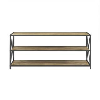 Carbon Loft Hattie X-frame Metal and Wood Media Bookshelf