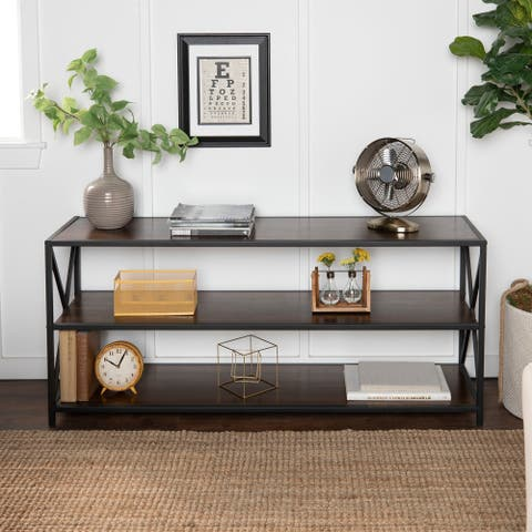 Carbon Loft 60-inch Hattie X-frame Media Bookshelf, Modern TV Stand for Living Room, Entryway - 60 x 16 x 26h