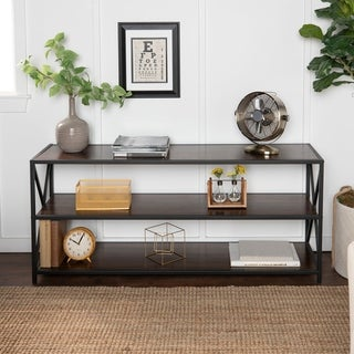 Carbon Loft Hattie X-frame Metal and Wood Media Bookshelf - 60 x 16 x 26h