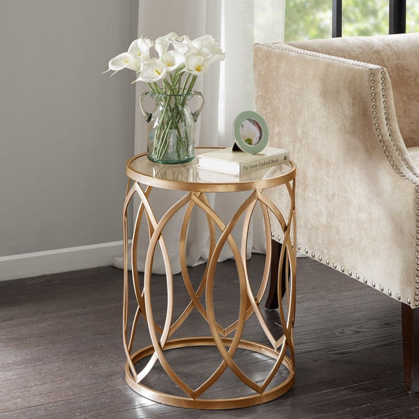 Silver Orchid Grant Gold/ Glass Metal Eyelet Accent Table. Opens flyout.