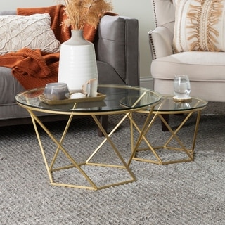 Silver Orchid Grant Round Glass Nesting Coffee Table Set - 28 x 28 x 16h