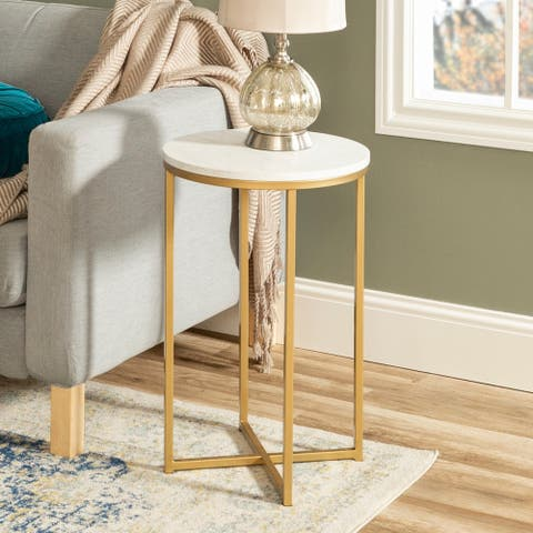 Silver Orchid Helbling 16-inch Modern Round Side Table