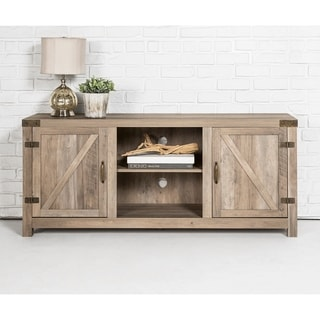 The Gray Barn Firebranch 58-inch Barn Door TV Stand Console, Rustic Entertainment Center - 58 x 16 x 24h