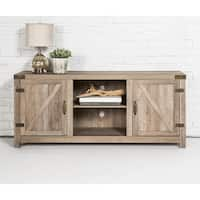 The Gray Barn Firebranch 58-inch Barn Door TV Stand Console, Rustic Entertainment Center