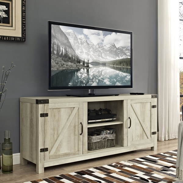 The Gray Barn Firebranch 58 Inch Barn Door TV Stand Console   58 X 16