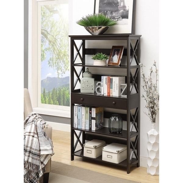 Copper Grove Cranesbill 5-tier Bookcase with Drawer. Opens flyout.