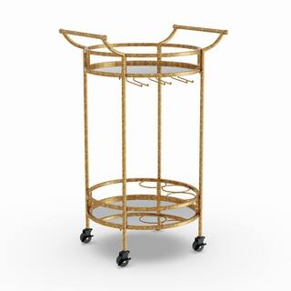 Silver Orchid Grant Gold Round Metal Bar Cart