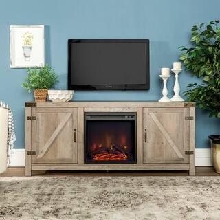 "The Gray Barn Firebranch 58"" Barn Door Fireplace TV Console - 58 x 16 x 25h"