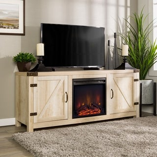 The Gray Barn Firebranch 58-inch Fireplace TV Stand Console, White, Rustic Barn Door Entertainment Center - 58 x 16 x 25h