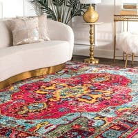 The Curated Nomad Beulah Distressed Oriental Medallion Abstract Area Rug (7'10 Square)