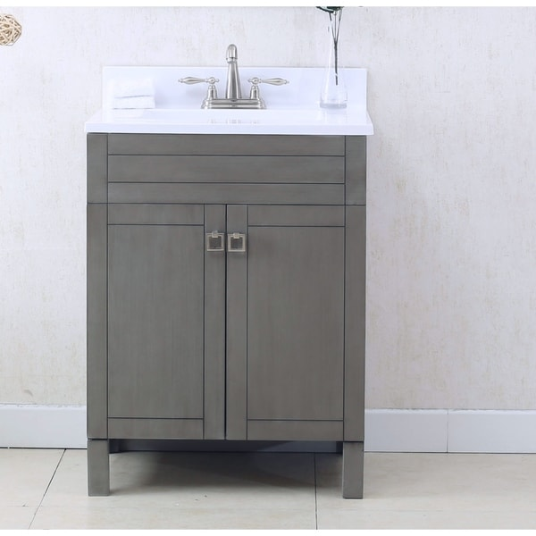 Bathroom Vanity In Silver Gray With Porcelain Top