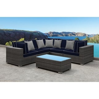 SOLIS Lusso 6-Piece Sectional Patio Set - Navy Cushions, Grey Pillows