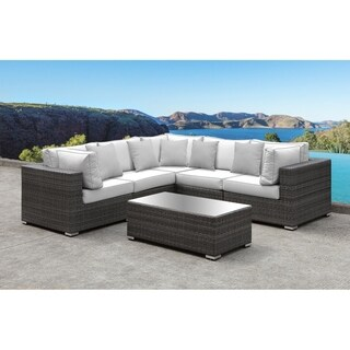 SOLIS Lusso 6-Piece Sectional Patio Set - White Cushions, Grey Pillows