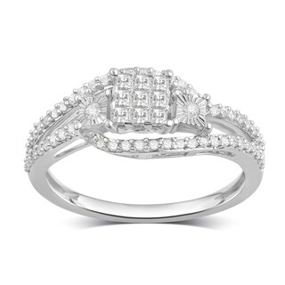 Divina Sterling Silver 3/8ct TDW Diamond Cluster Engagement Ring