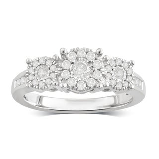 Divina Sterling Silver 1/2ct TDW Diamond Cluster Engagement Ring