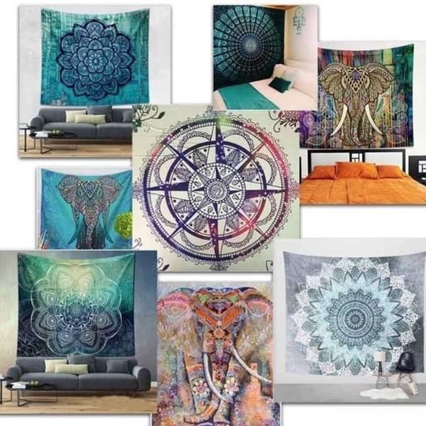 YKULEW Home Decor Beige Bohemian Tapestry ,Mandala Wall Hanging,Stylish Wall Hanging Indoor Decorative Cloth For Living Room Bedroom Dorm Headboard 130X150cm