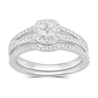 Divina 10KT White Gold 1 2ct TDW Diamond Bridal Set