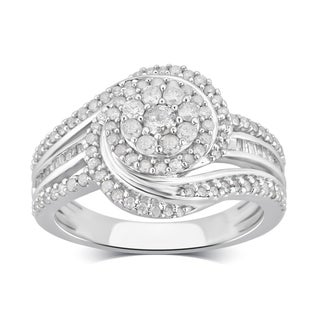 Divina Sterling Silver 3/4ct TDW Diamond Cluster Engagement Ring