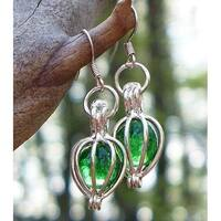 Handmade Recycled Vintage Emerald Beer Bottle Silver Drop Earrings (United States)