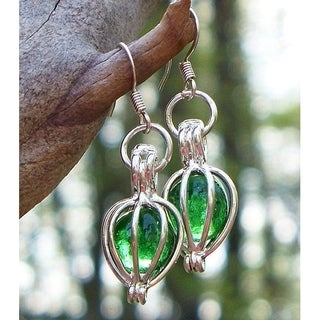 Handmade Recycled Vintage Emerald Beer Bottle Silver Drop Earrings (United States)