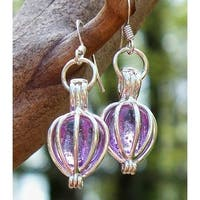 Handmade Recycled Amethyst Bottle Silver Drop Earrings (United States)