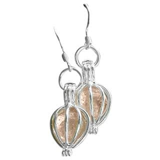Handmade Recycled Antique Pink Depression Glass Silver Drop Earrings