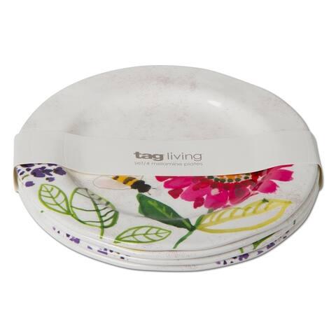 TAG Fresh Flowers Melamine Salad Plate Set Of 4