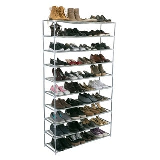 50 Pair Extra Long Shoe Rack - 10 Tiers - Grey