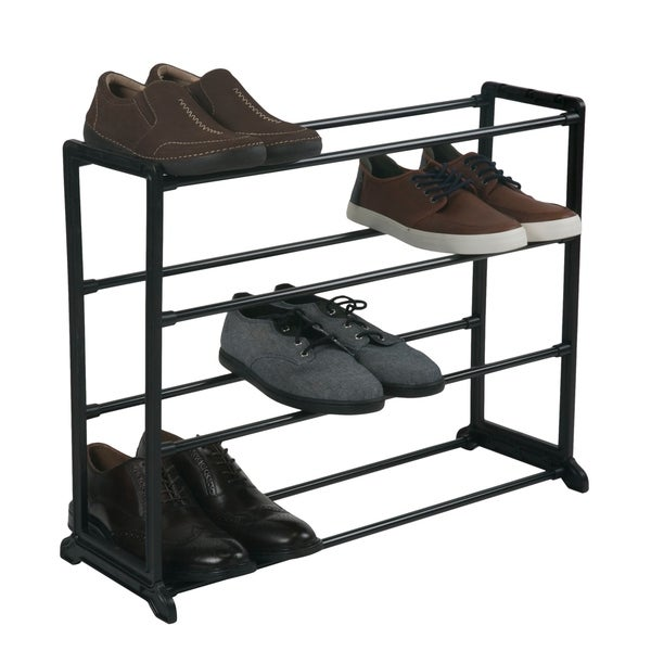 Shop 12 Pair Shoe Rack 4 Tiers Black Free Shipping
