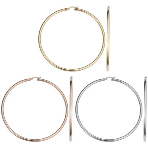 14k Gold 3x70mm Large Hoop Earrings (yellow gold, white gold or rose gold)