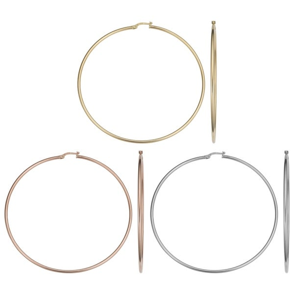 14k Gold 2x70mm Large Hoop Earrings (yellow gold, white gold or rose gold). Opens flyout.