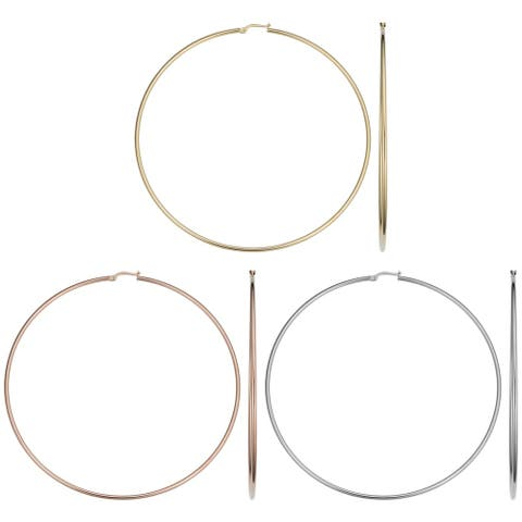 14k Gold 2x90mm Large Hoop Earrings (yellow gold, white gold or rose gold)