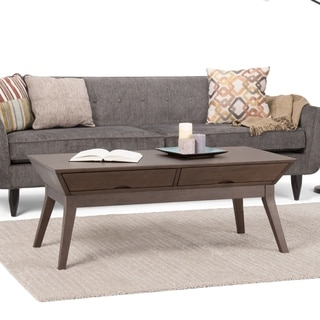 WYNDENHALL Avion Solid Hardwood 48 inch Wide Rectangle Contemporary Coffee Table in Walnut Brown - 48 W x 22 D x 19 H