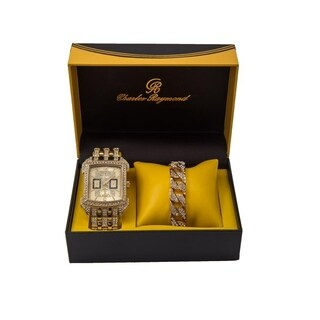 Charles Raymond Bling Bling Rectangular Gold Mens Watch with Iced Out Gold Cuban Bracelet -