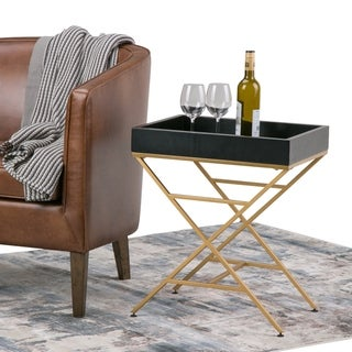 WYNDENHALL Linus Contemporary 20 inch Wide Metal and Wood Accent Side Table in Matte Black, Gold