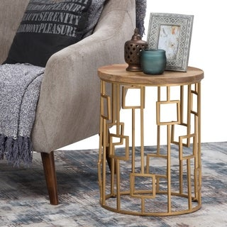 WYNDENHALL Baker Contemporary Modern 16 inch Wide Metal and Wood Accent Side Table in Natural, Gold, Fully Assembled