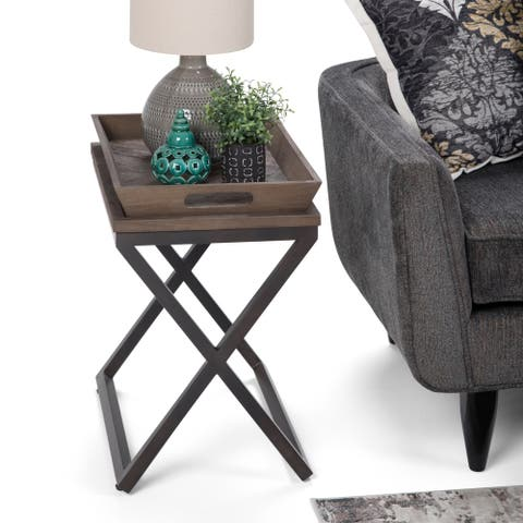 WYNDENHALL Poulton Industrial Solid Elm Wood and Metal Narrow End Side Table with Tray - 14 W x 20 D x 22 H