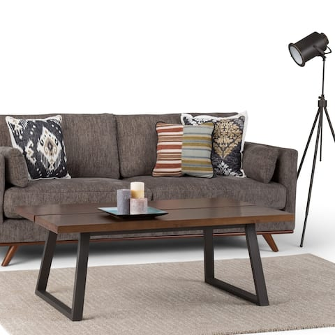 WYNDENHALL Tyson Solid Wood and Metal 48 inch Wide Rectangle Modern Industrial Coffee Table in Light Walnut Brown
