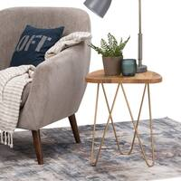 WYNDENHALL Tillman Metal and Solid Mango Wood Accent Side End Table