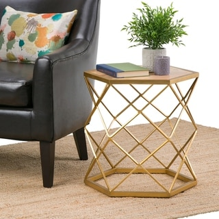 WYNDENHALL Forman Contemporary Modern 20 inch Wide Metal and Marble Accent Side Table in Natural, Gold, Fully Assembled