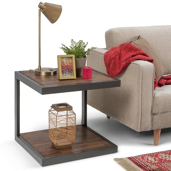 WYNDENHALL Cecilia Modern Industrial Solid Acacia Wood & Metal End Side Table - 24 W x 22 D x 22 H