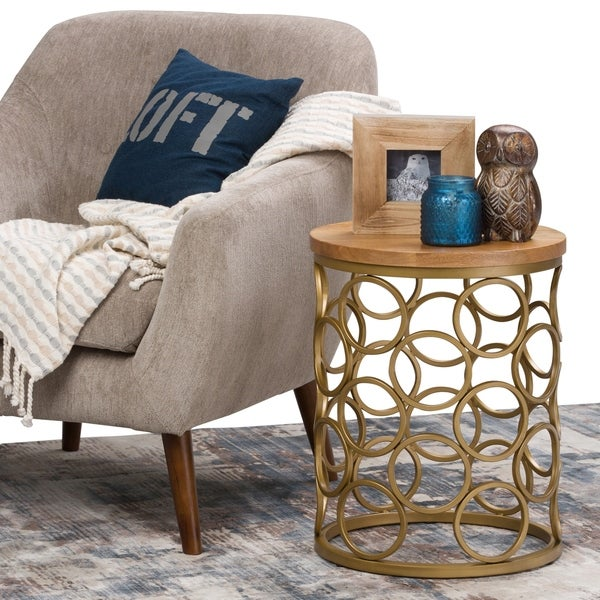 WYNDENHALL Rawlins Contemporary Modern 17 inch Wide Metal and Wood Accent Side Table in Natural, Gold, Fully Assembled