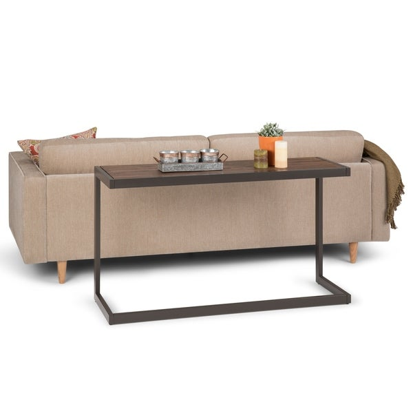 WYNDENHALL Cecilia Solid Acacia Wood and Metal 52 inch Wide Modern Industrial Console Sofa Table in Rustic Natural Aged Brown