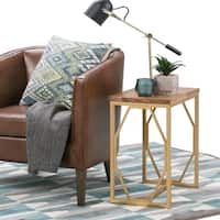 WYNDENHALL Ebsen Metal and Solid Mango Wood Accent Side End Table