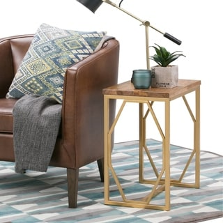 WYNDENHALL Ebsen Contemporary 13 inch Wide Metal and Wood Accent Side Table in Natural, Gold - 13 W x 20 D x 24 H