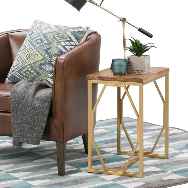 WYNDENHALL Ebsen Contemporary 13 inch Wide Metal and Wood Accent Side Table in Natural, Gold