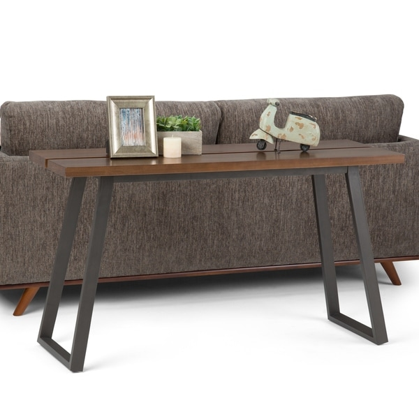 WYNDENHALL Tyson Solid Wood and Metal 54 inch Wide Modern Industrial Console Sofa Table in Light Walnut Brown