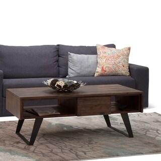 WYNDENHALL Mitchell Modern Industrial Solid Acacia Wood & Metal Coffee Table - 48 W x 22 D x 18 H